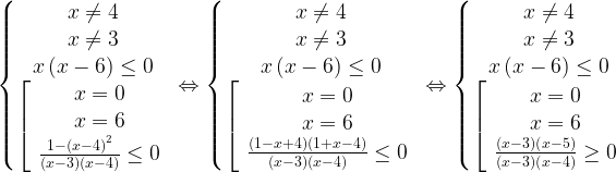 \left\{\begin{matrix}x\neq 4\\x\neq 3\\x\left ( x-6 \right )\leq 0\\\left[\begin{array}{ccc}x=0 \\x=6\\\frac{1-\left ( x-4 \right )^{2}}{\left ( x-3 \right )\left ( x-4 \right )} \leq 0\\\end{array}\right.\end{matrix}\right.\Leftrightarrow\left\{\begin{matrix}x\neq 4\\x\neq 3\\x\left ( x-6 \right )\leq 0\\\left[\begin{array}{ccc}x=0 \\x=6\\\frac{\left ( 1-x+4 \right )\left ( 1+x-4 \right )}{\left ( x-3 \right )\left ( x-4 \right )} \leq 0\\\end{array}\right.\end{matrix}\right.\Leftrightarrow\left\{\begin{matrix}x\neq 4\\x\neq 3\\x\left ( x-6 \right )\leq 0\\\left[\begin{array}{ccc}x=0 \\x=6\\\frac{\left ( x-3 \right )\left ( x-5 \right )}{\left ( x-3 \right )\left ( x-4 \right )} \geq 0\\\end{array}\right.\end{matrix}\right.