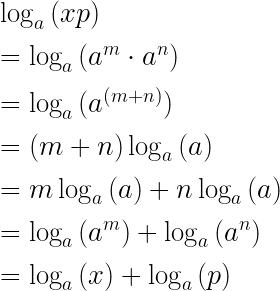 \log _{ a }{ (xp) } \\ \\ =\log _{ a }{ ({ a }^{ m }\cdot { a }^{ n }) } \\ \\ =\log _{ a }{ ({ a }^{ (m+n) }) } \\ \\ =(m+n)\log _{ a }{ (a) } \\ \\ =m\log _{ a }{ (a)+n\log _{ a }{ (a) }  } \\ \\ =\log _{ a }{ ({ a }^{ m })+\log _{ a }{ ({ a }^{ n }) }  } \\ \\ =\log _{ a }{ (x)+\log _{ a }{ (p) }  }