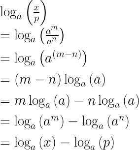 \log _{ a }{ \left( \frac { x }{ p }  \right)  } \\ \\ =\log _{ a }{ \left( \frac { { a }^{ m } }{ { a }^{ n } }  \right)  } \\ \\ =\log _{ a }{ \left( { a }^{ \left( m-n \right)  } \right)  } \\ \\ =\left( m-n \right) \log _{ a }{ \left( a \right)  } \\ \\ =m\log _{ a }{ \left( a \right)  } -n\log _{ a }{ \left( a \right)  } \\ \\ =\log _{ a }{ \left( { a }^{ m } \right) -\log _{ a }{ \left( { a }^{ n } \right)  }  } \\ \\ =\log _{ a }{ \left( x \right)  } -\log _{ a }{ \left( p \right)  }