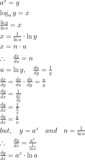 { a }^{ x }=y\\ \\ \log _{ a }{ y=x } \\ \\ \frac { \ln { y } }{ \ln { a } } =x\\ \\ x=\frac { 1 }{ \ln { a } } \cdot \ln { y } \\ \\ x=n\cdot u\\ \\ \therefore \quad \frac { dx }{ du } =n\\ \\ u=\ln { y,\quad \frac { du }{ dy } } =\frac { 1 }{ y } \\ \\ \frac { dx }{ dy } =\frac { dx }{ du } \cdot \frac { du }{ dy } =\frac { n }{ y } \\ \\ \frac { dy }{ dx } =\frac { 1 }{ \frac { dx }{ dy } } \\ \frac { dy }{ dx } =\frac { 1 }{ \frac { n }{ y } } \\ \frac { dy }{ dx } =\frac { y }{ n } \\ \\ but,\quad y={ a }^{ x }\quad and\quad n=\frac { 1 }{ \ln { a } } \\ \\ \therefore \quad \frac { dy }{ dx } =\frac { { a }^{ x } }{ \frac { 1 }{ \ln { a } } } \\ \\ \frac { dy }{ dx } ={ a }^{ x }\cdot \ln { a } \\ \\ \\