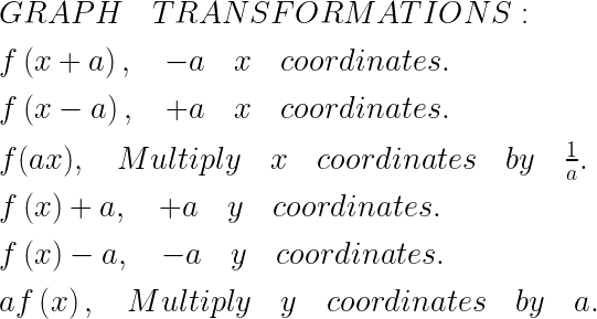 GRAPH\quad TRANSFORMATIONS:\\ \\ f\left( x+a \right) ,\quad -a\quad x\quad coordinates.\\ \\ f\left( x-a \right) ,\quad +a\quad x\quad coordinates.\\ \\ f(ax),\quad Multiply\quad x\quad coordinates\quad by\quad \frac { 1 }{ a } .\\ \\ f\left( x \right) +a,\quad +a\quad y\quad coordinates.\\ \\ f\left( x \right) -a,\quad -a\quad y\quad coordinates.\\ \\ af\left( x \right) ,\quad Multiply\quad y\quad coordinates\quad by\quad a.